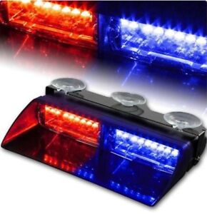 Car 16 Led Red blue Police Strobe Flash Light Dash Emergency Flashing Light