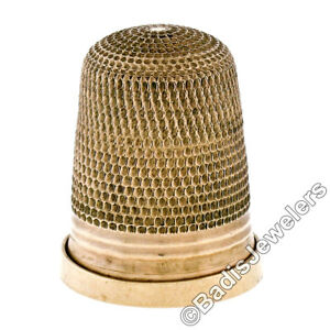 Collectible Antique Birks 9k Gold Engraved Etched Sewing Thimble W Ribbed Band