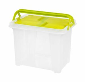 Iris Letter Size Portable Wing Lid File Box With Handles 4 Pack Green