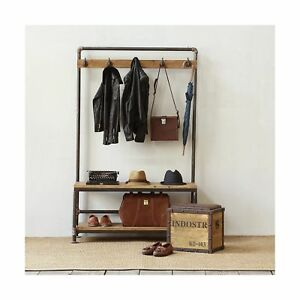 Industrial Pipe Clothing Rack Pine Wood Shelving Shoes Rack Cloth Hanger Pipe