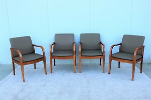 Gunlocke Set Of Four Guest Dining Arm Chairs Mid Century Modern Brown Fabric