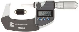 Mitutoyo 293 235 Metric Waterproof Digital Outside Micrometer 25 50mm 0 001mm