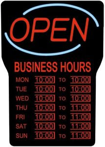 Open Closed Sign Business Hours Shop Led Illuminated Flashing 1 sided Indoor Dc