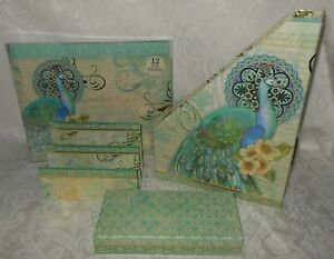 15 Pc Set Punch Studio Peacock Desk File Folders Mail Magazine Organizer Box New