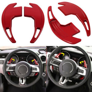 Car Red Metal Steering Wheel Shift Paddle Shifter Extension For Ford Mustang ya