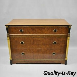 Antique French Art Deco Burl Wood Dresser Chest Of Drawers Black Columns