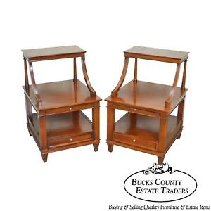 Hickory Chair Co Pair Of Mahogany 3 Tier Nightstands