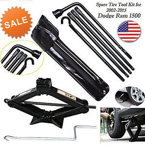 For 2002 2015 Dodge Ram 1500 Spare Tire Lug Wrench Tool Scissor Jack Tool Kit