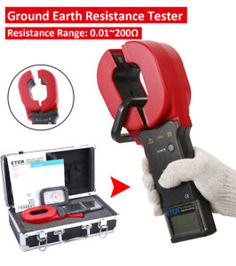 Etcr2000a Digital Clamp On Ground Earth Resistance Tester Meter 0 01 To 200 Ohm