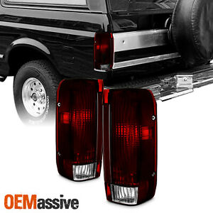 Fit 91 96 Ford Bronco F150 F250 Pickup Truck Dark Red Tail Lights Replacement