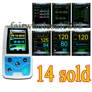 Usa Color Lcd 24 Hour Ambulatory Blood Pressure Monitor Holter Abpm Cuff Nibp