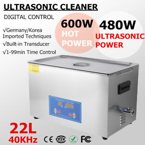 22l Industry Ultrasonic Cleaner Jewelry Dishware Cleaning Machine W timer Heater