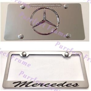mercedes Incursive Stainless Mirror Front License Plate Frame Rust Free