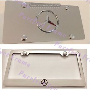 mercedes Star Logo Stainless License Frame Mirror Plate Rust Free