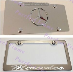 mercedes Incursive Stainless License Frame Mirror Plate Rust Free