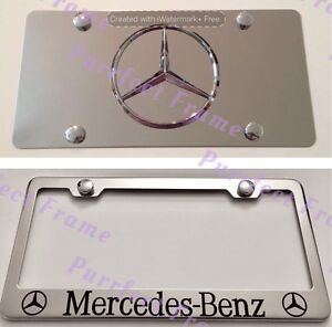 mercedes benz Stainless Mirror Front License Plate Frame Combo Rust Free