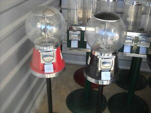 Six 6 Classic Gumball Vending Machines On Stand W key