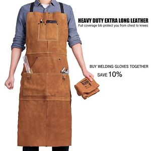 Leather Welding Apron Heat Flame Resistant Heavy Duty Adjustable 6 Pockets Brown