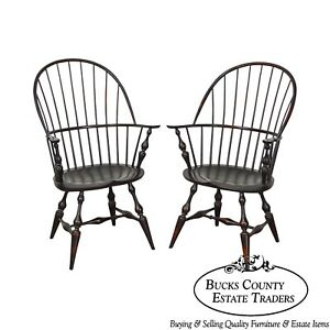 Dr Dimes Pair Of Bow Back Painted Windsor Arm Chairs