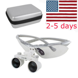 Silver Dental Surgical Medical Binocular Loupes Adjustable 2 5x R Optical Glass