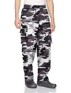 Chefwear Mens Unisex Cargo Cotton Chef Pant Arctic Camouflage Small