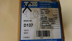 Fasco D137 Motor Shaded Pole Hp 1 30 1 65 Amps 1 0 07 115 V 1500 Rpm 2 Speed
