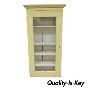 Antique Primitive Painted Yellow Dovetailed Wooden Cupboard Kitchen Cabinet 52 H