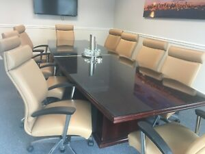 Executive Conference Table And 12 Italian Leather Chairs