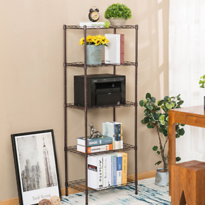 Heavy Duty 5 shelf Steel Wire Tier Layer Shelving Storage Rack Cart W Wheels