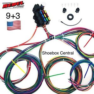 Rebel Wire 12 Volt Wiring Harness 9 3 Circuit Universal Kit Made In The Usa