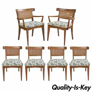 6 Vtg Mid Century Modern Walnut Curved Cane Back Dining Chairs Tomlinson Style