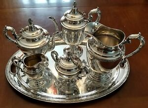 Vintage Alvin Chased Romantique Sterling Silver 7pc Coffee Tea Pot Set 3174g