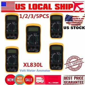 5pcs Display Digital Multimeter Xl830l Volt Meter Ammeter Ohmmeter Tester Usa