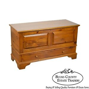 Ethan Allen Country Craftsman Solid Pine Lidded Blanket Chest W Drawer