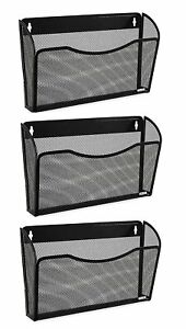 3 Pieces Mesh Pockets Hanging File Organizer Vertical Wall Mount Holder Rack New