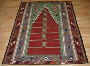 Old Turkish Obruk Prayer Kilim Of Traditional Design Excellent Condition 1920s