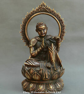 Chinese Old Bronze Dou Fight Holy Buddha Handsome Monkey King Sun Wukong Statue