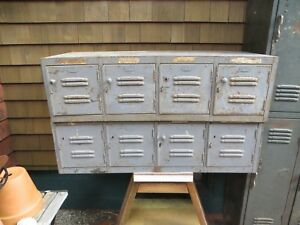 Bank Of 4 Horizontal Gym Lockers Vented Vintage Cabinet Grey