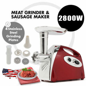 2800w Electric Meat Grinder Sausage Stuffer Maker Stainless Cutter Home 110v Red