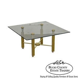 Mid Century Modern Brass Base Square Glass Top Coffee Table