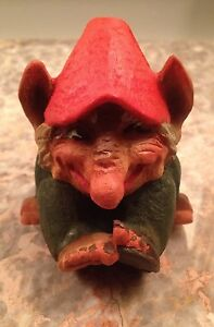 Vintage Small Henning Norway Handcarved Wood Shelf Sitting Troll 3 5 Inches Tall