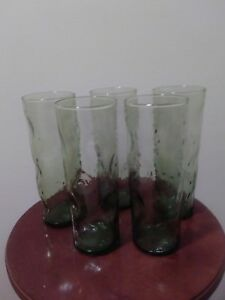 Mid Century Modern Green Tall Drinking Glasses Tumbler Bar Ware Iced Tea