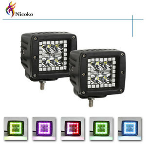 18w Led Cube Lights Chaser Halo Pods 4wd Offroad Fog Atv Suv Driving Lamp Pack2