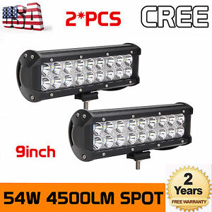2x 54w 9 inch Led Work Light Bar Spot Lights Offroad Driving Truck Suv 4wd Boat