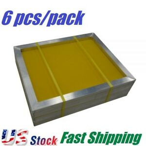 6 Pcs 20 X 24 Aluminum Frame Silk Screen Printing Screens With 305 Mesh Count