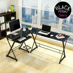 L shape Corner Computer Desk Pc Glass Table Office Furniture Table Workstation