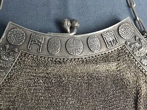 Very Rare Chinese Purse In Solid Silver Towards 1900 Qing Dynasty87