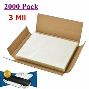 2000 Sheet 3 Mil Letter Size Thermal Laminator Hot Laminating Pouches 9 X 11 5