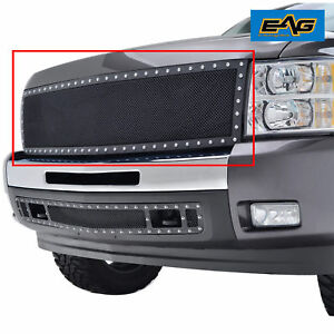 07 13 Chevrolet Silverado 1500 Front Hood Rivet Black Ss Wire Mesh Grille Grill