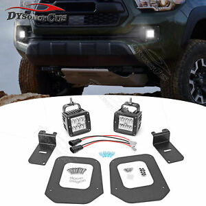 Fit 16 Up Toyota Tacoma 24w Led Fog Light Pod Lower Bumper Replace Bracket Kit